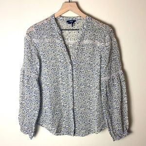 PAIGE blue and white patterned long sleeve XS
